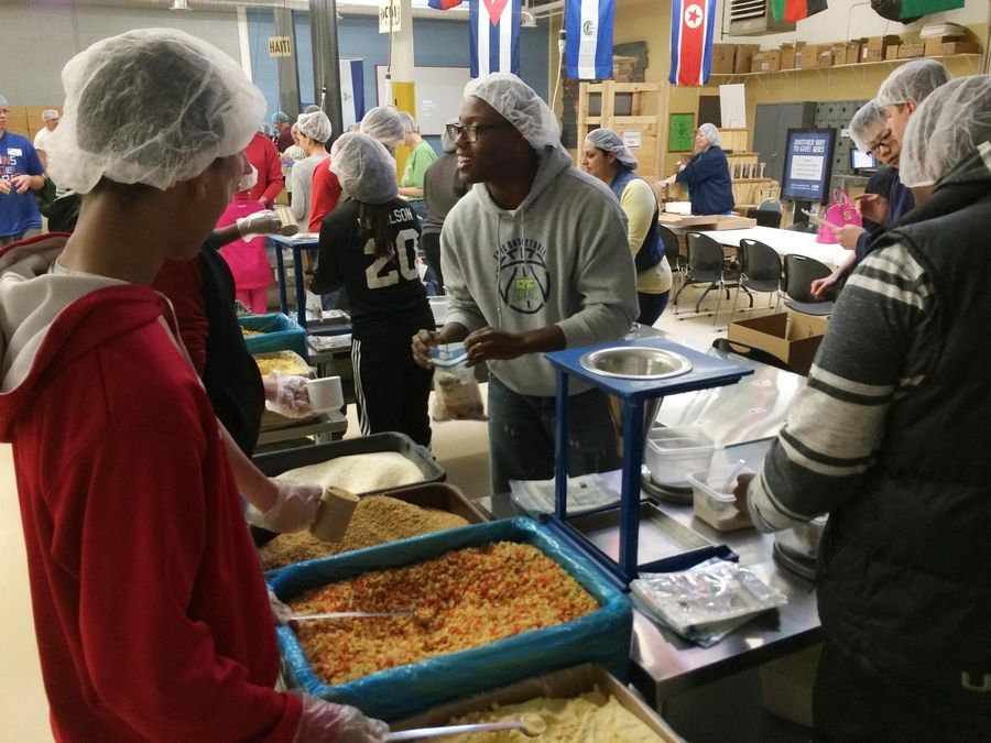 Each team chooses at least one service project in addition to a day at Feed My Starving Children.