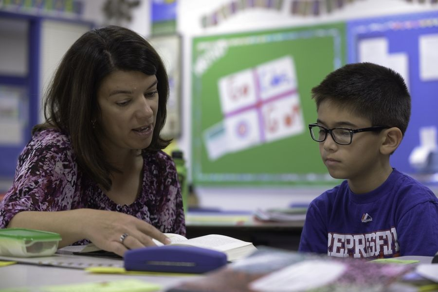 Fifth-grade teacher Cari Chidley works with Charles Nguyen at Meadow Glens Elementary in Naperville. Teamwork among teachers has helped the school stand out as worthy of a National Blue Ribbon Schools award from the U.S. Department of Education, school leaders say.