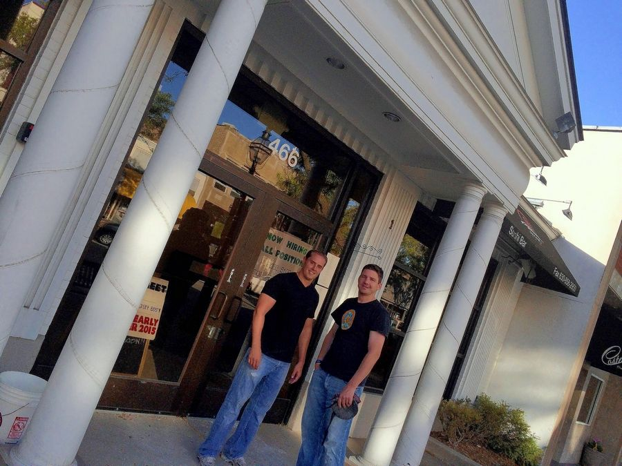 Kevin Hahn, left, and J.J. Pacetti are among those working to open Main Street Pub in downtown Glen Ellyn, where they will serve burgers and craft beer.
