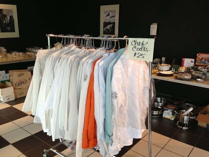 Chef coats for sale at the Green City Market Culinary Garage Sale.