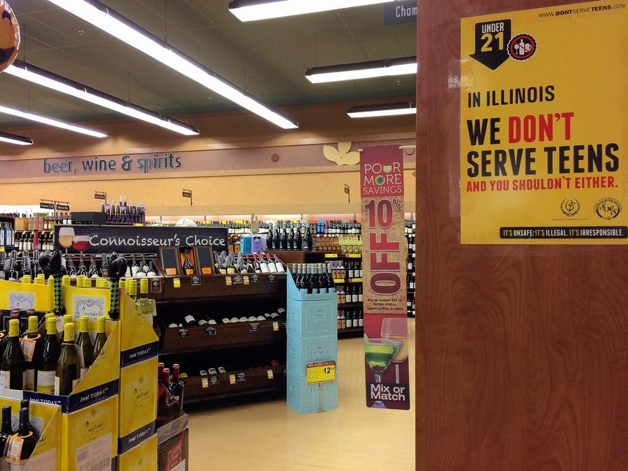 Naperville grocery stores such as this Jewel are required to display alcohol in separate sections. But the council could decide next month to lift that regulation and allow cross-promotion of liquor to be placed with foods throughout stores.