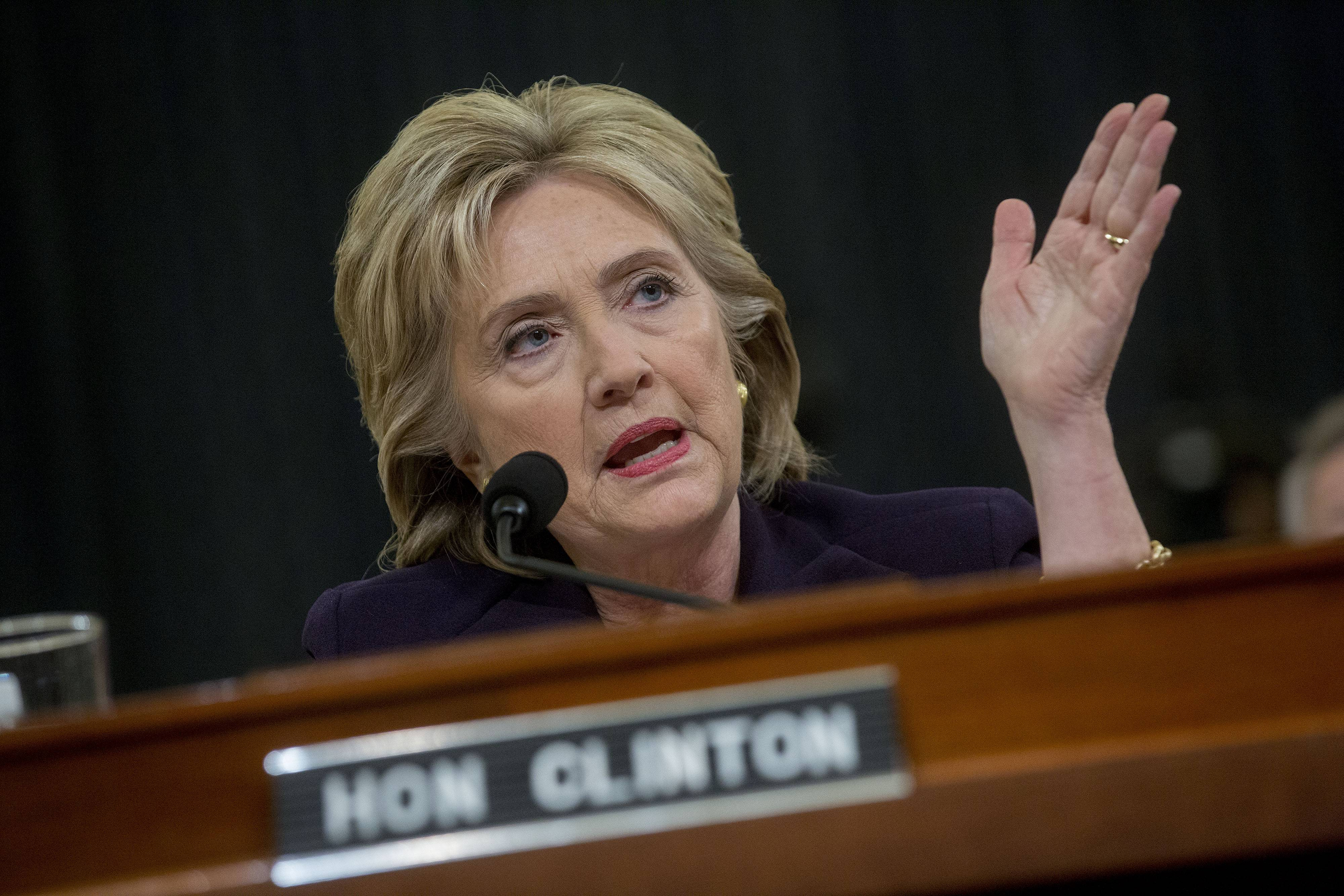 Hillary Clinton, former U.S. secretary of state and 2016 Democratic presidential candidate, speaks during a House committee hearing on Benghazi on Thursday in Washington.