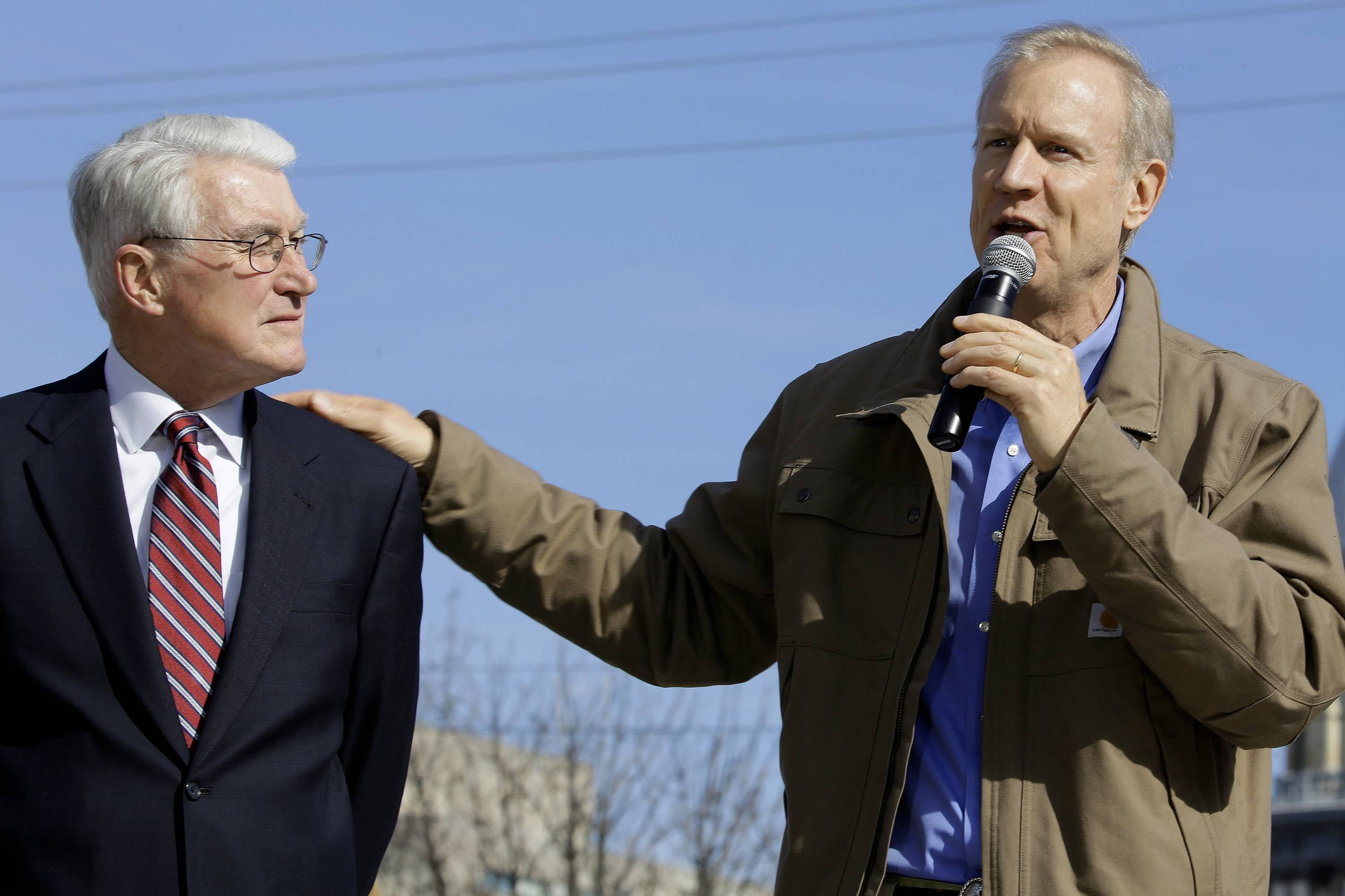 Former Gov. Jim Edgar, shown with Gov. Bruce Rauner, has said in recent days that Illinois is in bad shape.