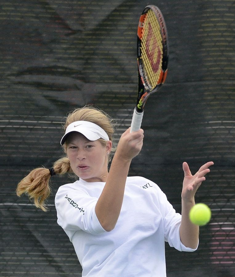 Zoe Taylor of Stevenson returns a shot from Catherine Gray of Bradley Bourbonnais during first-round action of the girls tennis state tournament at Palatine High School.