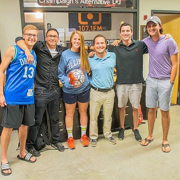 "Brett Lerner, second from right, stands with his co-hosts for the ""Illini Drive"" radio show after they interviewed soccer player Janelle Flaws. Lerner, a University of Illinois student from Buffalo Grove, was killed Friday night in a two-vehicle crash downstate."