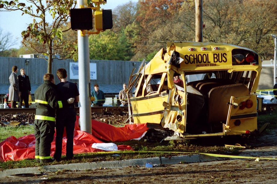 Seven students died when a Metra express train hit a school bus on Oct. 25, 1995, in Fox River Grove.