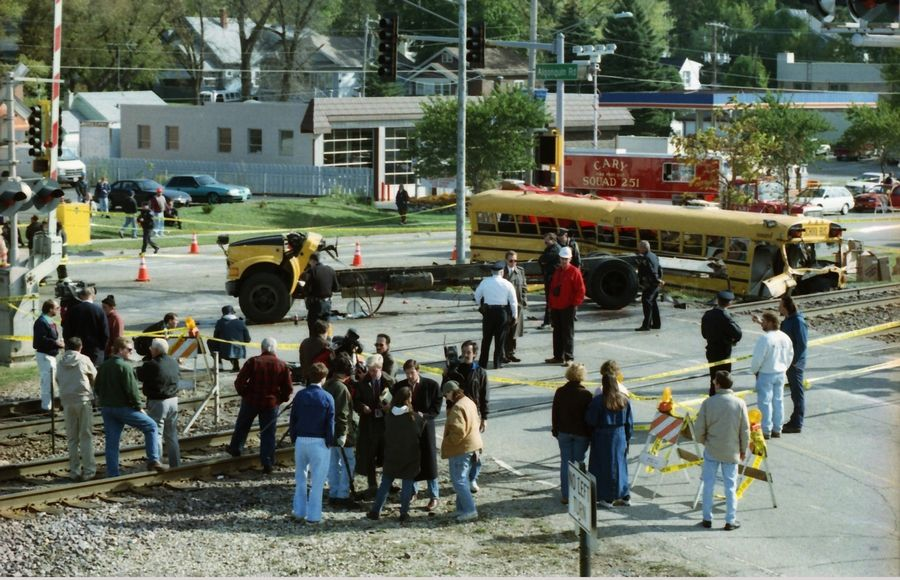 A train struck a school bus Oct. 25, 1995, in Fox River Grove, separating the bus from its chassis and killing seven teenage students.