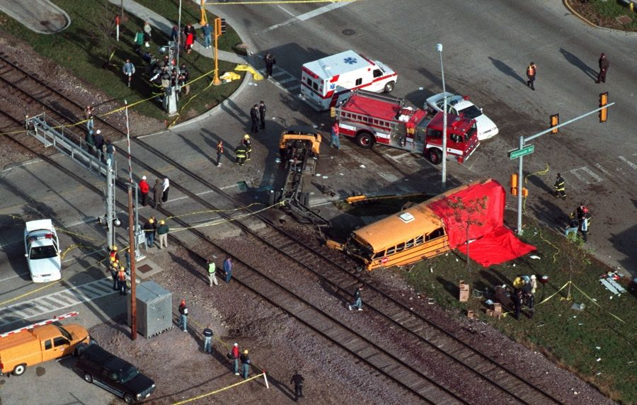 A school bus was spun around and came to rest near Algonquin Road and Northwest Highway in Fox River Grove after it was struck by a train on Oct. 25, 1995. A memorial to the seven who were killed marks the spot today.