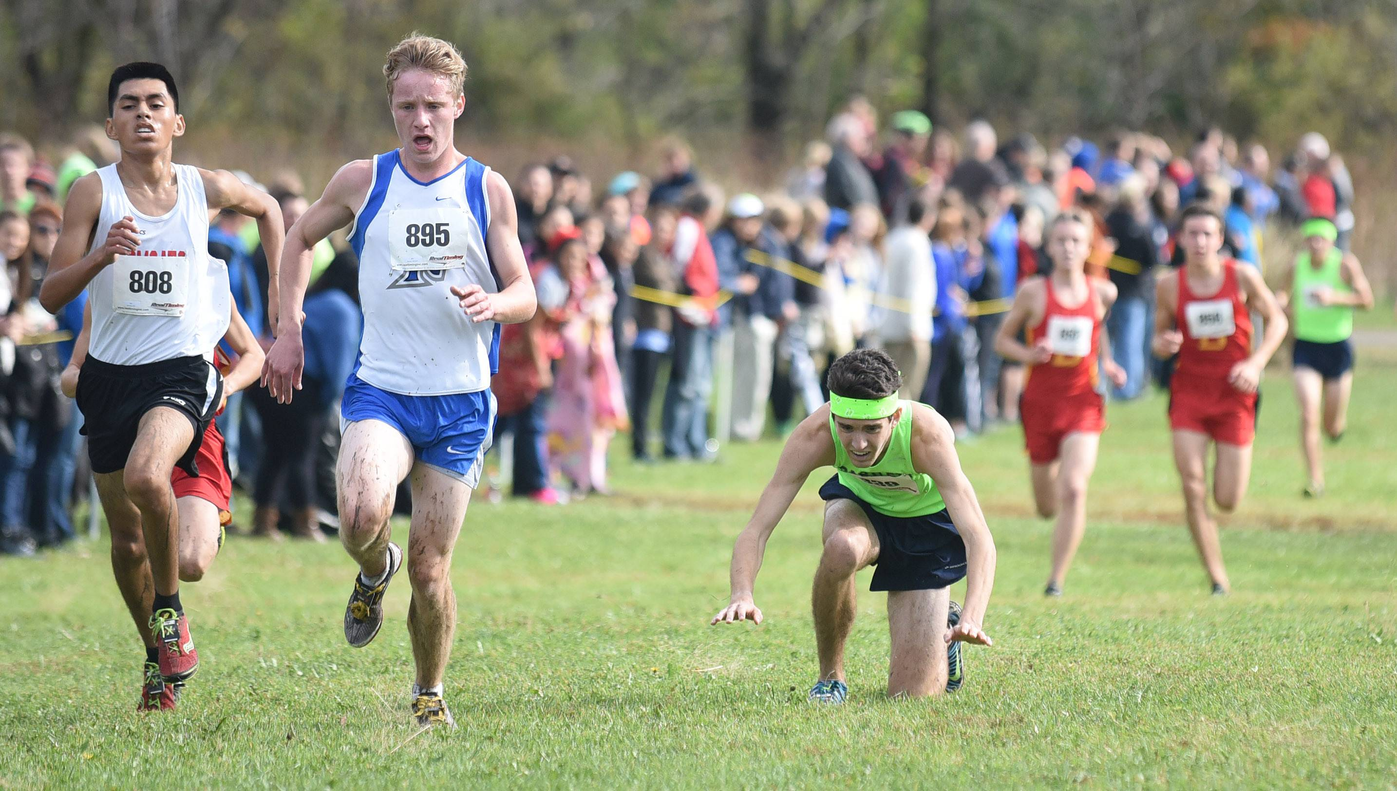 Bartlett's Justin Isla falls as he struggles to the finish line in the boys varsity race at the St. Charles North cross country regional on Saturday. He fell several times, but kept getting back up to finish the race.