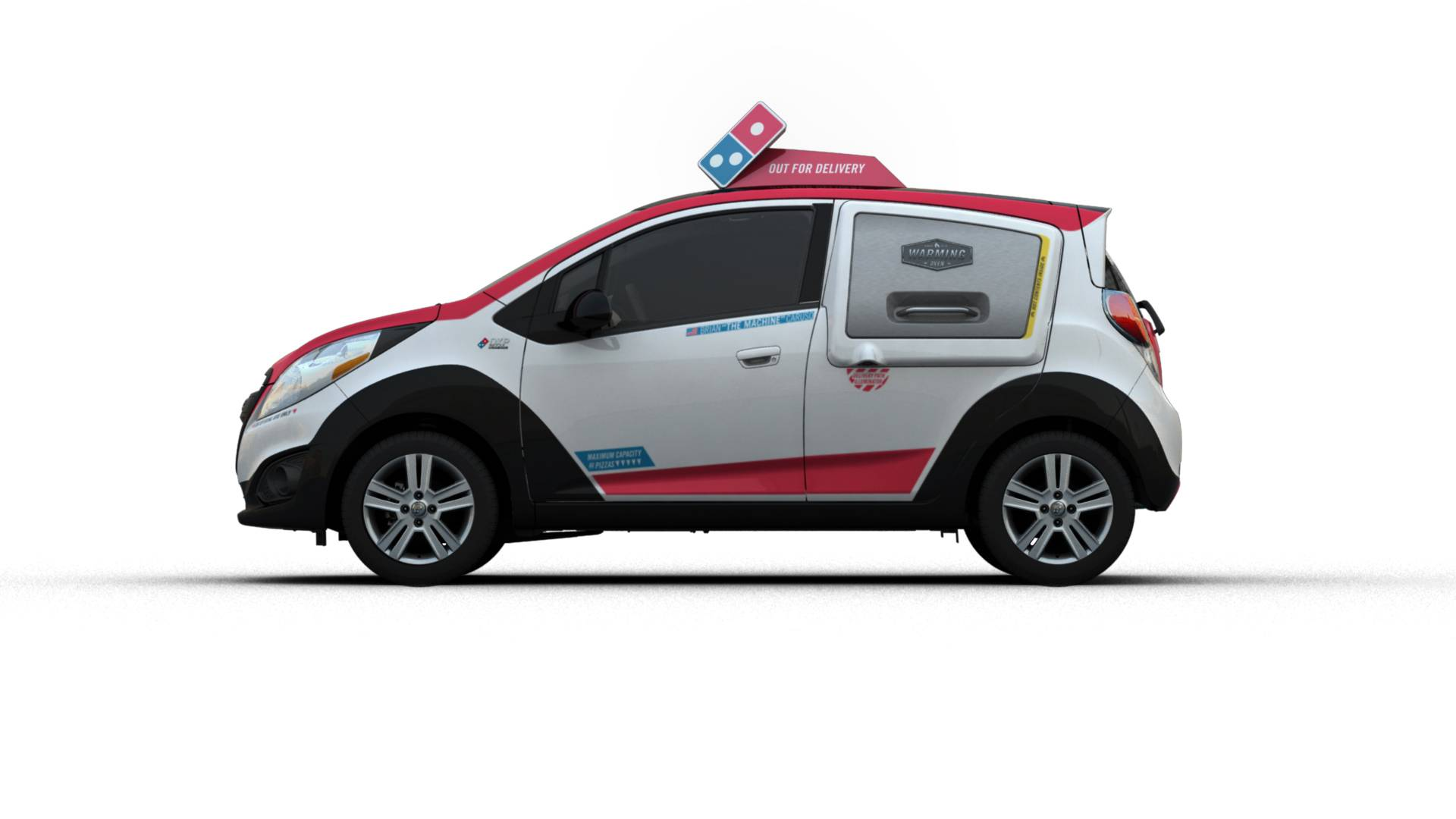 Domino's is rolling out 100 test vehicles emblazoned with the company's logo and red-and-blue colors, as well as an oven in the rear that can keep pizzas warm during transit. Domino's plans to bring the cars to 25 markets, including Boston, Dallas, Detroit, Houston, New Orleans and Seattle, according to a statement Wednesday.