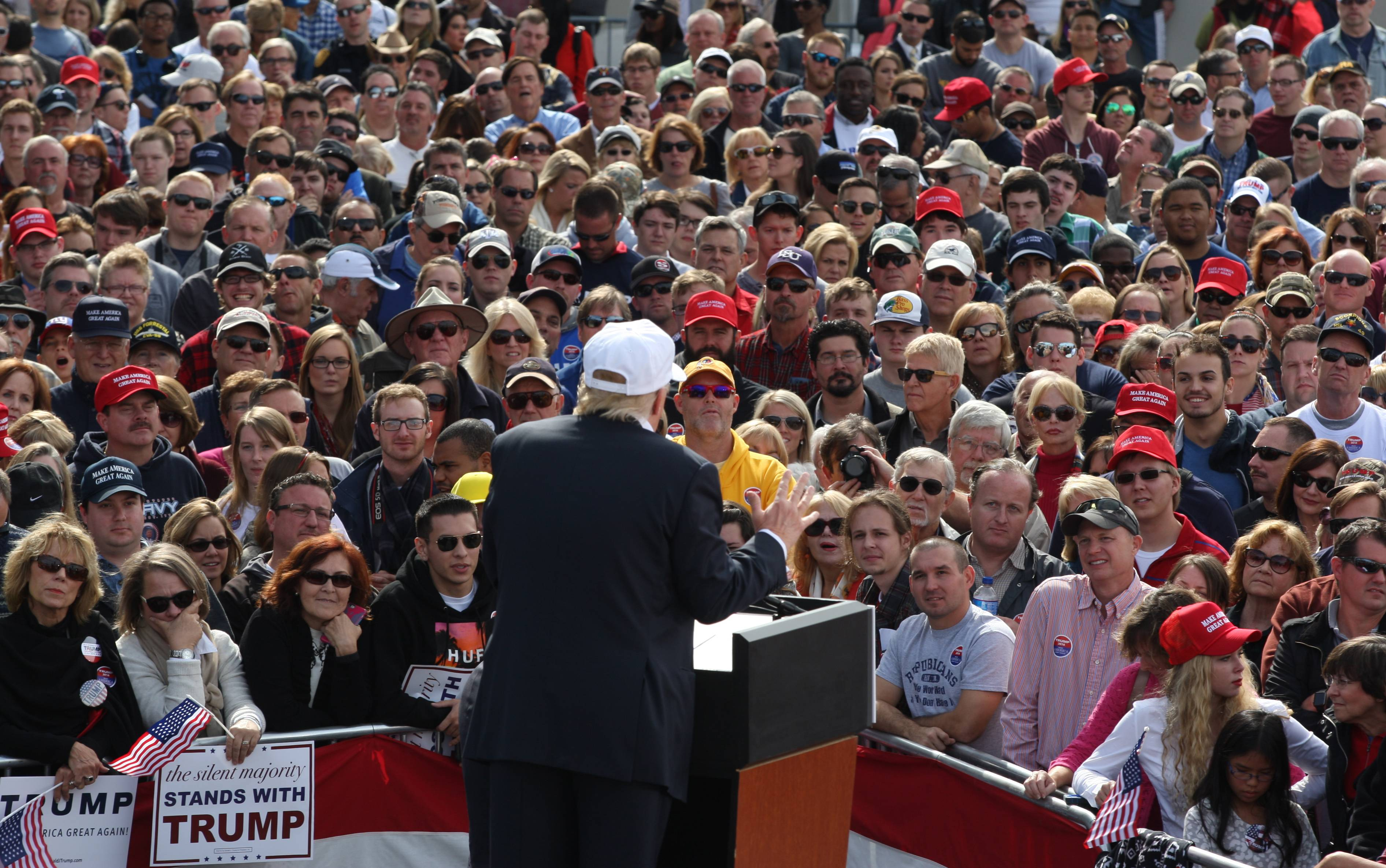 Republican presidential candidate Donald Trump speaks Saturday to supporters during a rally in Norfolk, Va.