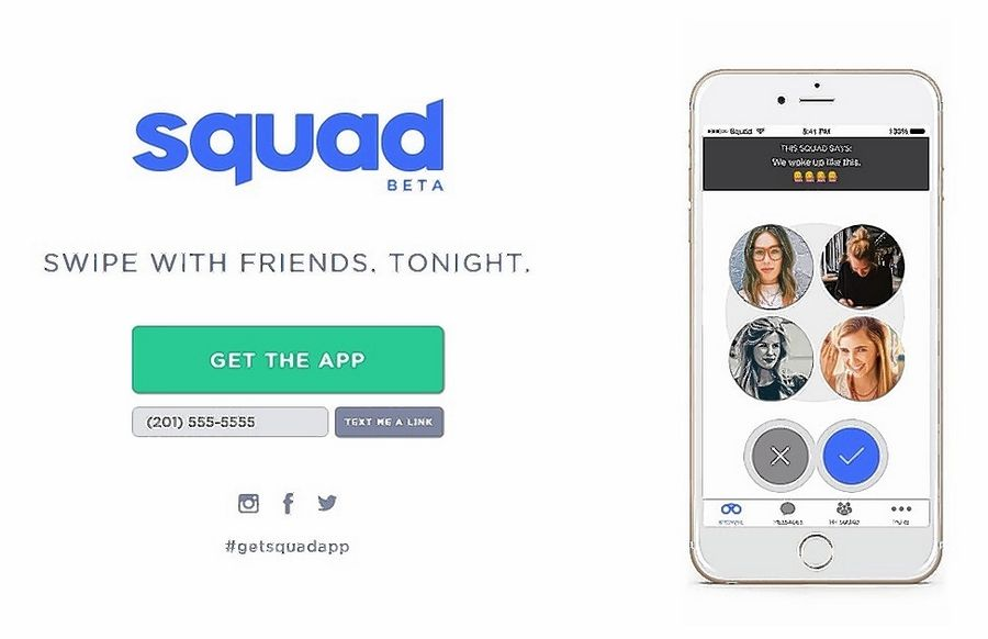 The Squad app lets you find friend-group matches last only 24 hours. A Squad might assemble for a specific activity -- a night out at a bar, or to watch a football game -- then match with another squad. Once both groups swipe right, squad members can message one another other within the app.