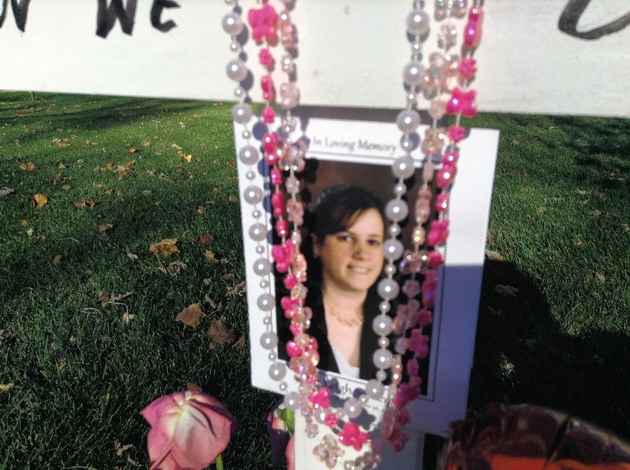 A roadside memorial was installed over the weekend for Erin Semerad along Springinsguth Road in Schaumburg. She died nearby last week when, according to police, a car fleeing the scene of another crash collided with her vehicle.