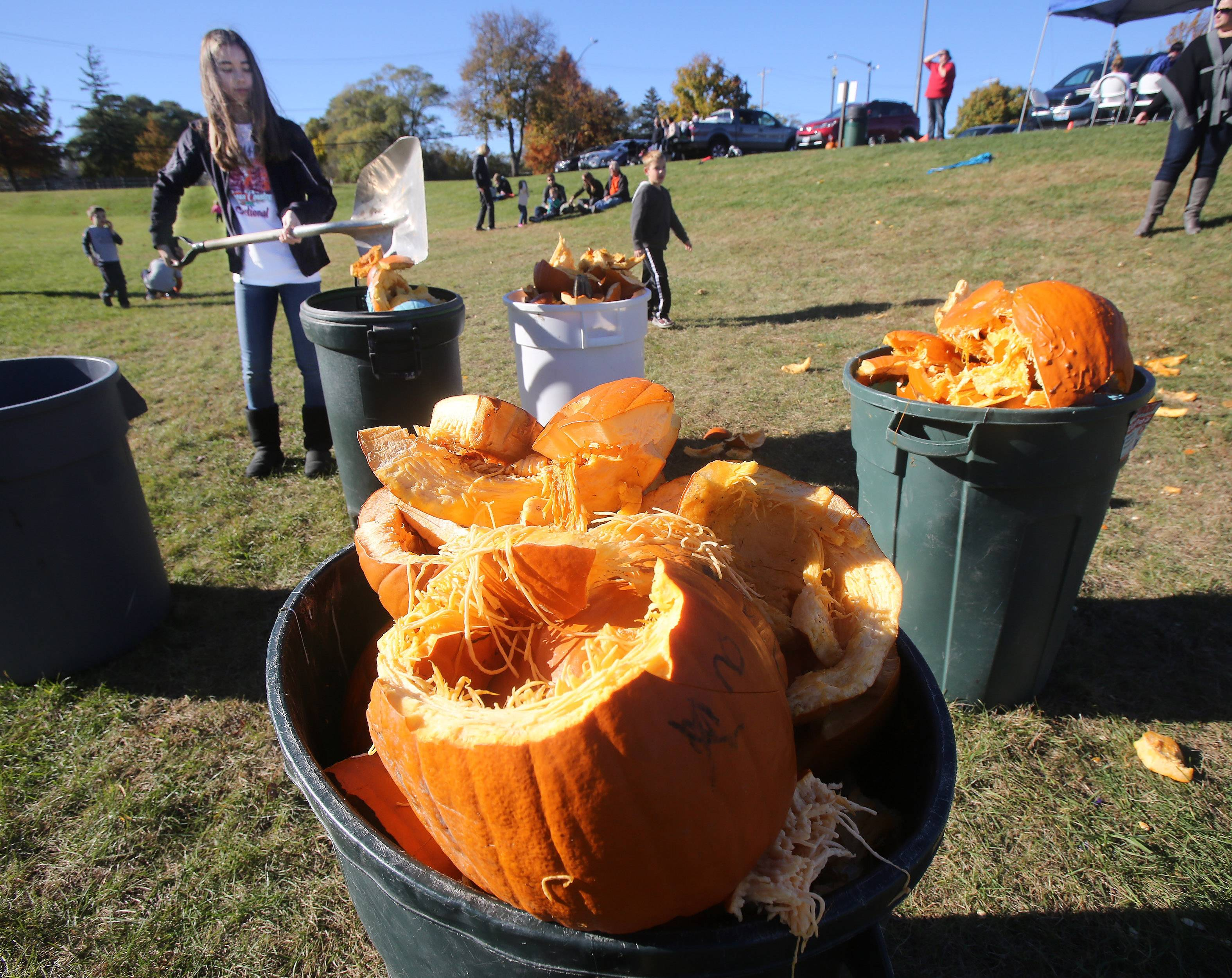 Lake Zurich High School sophomore Eilsa Krause fills a trash container with pumpkins after the 8th annual Pumpkin Drop this past Sunday at Keith Mione Community Park in Mundelein. The leftover pumpkin scraps from the event were collected and sent to the Prairie Crossing farm in Grayslake for composting.