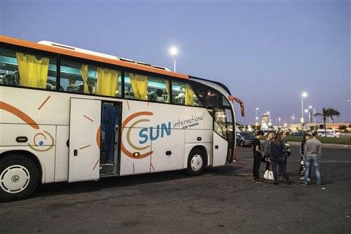 Ukrainian tourists head to their hotels after arriving from Ukraine, in the Sharm el-Sheikh airport, south Sinai, Egypt, Saturday, Nov. 7, 2015. Egypt's Foreign Minister Sameh Shoukry complained on Saturday that Western governments had not sufficiently helped Egypt in its war on terrorism and had not shared relevant intelligence with Cairo regarding the downed Russian airplane that crashed last week in the Sinai, killing 224 people onboard.