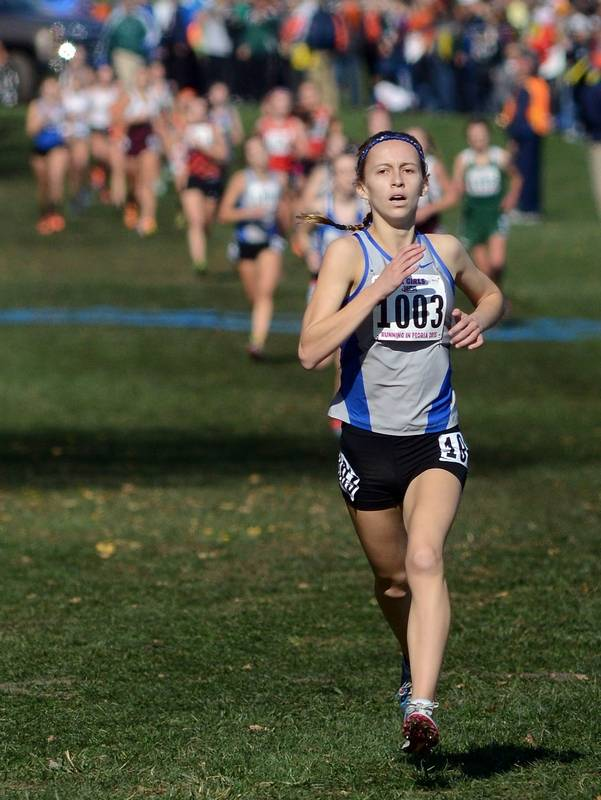 Vernon Hills' Vivian Overbeck nears the finish line to take fifth place in  the Class