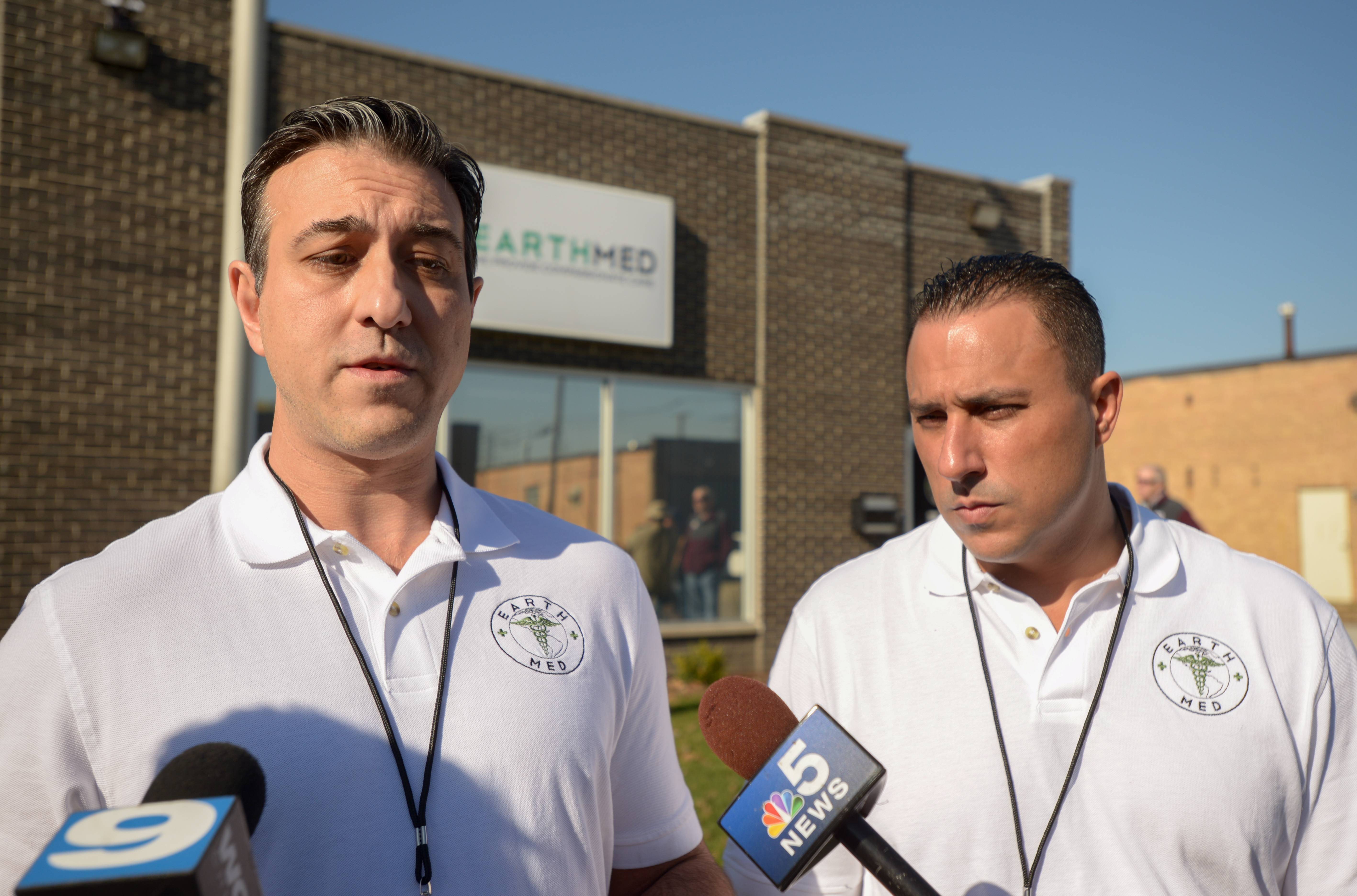CEO Gus Koukoutsakis and CFO Michael Perez of Earth Med in Addison, talk to the media before opening their new medical marijuana dispensary.