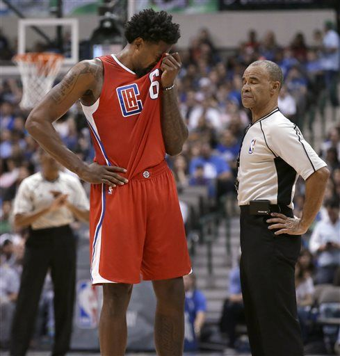 Los Angeles Clippers center DeAndre Jordan (6) reacts to call by referee Dan Crawford during the second half of an NBA basketball game against the Dallas Mavericks on Wednesday, Nov. 11, 2015, in Dallas. The Mavericks won 118-108.