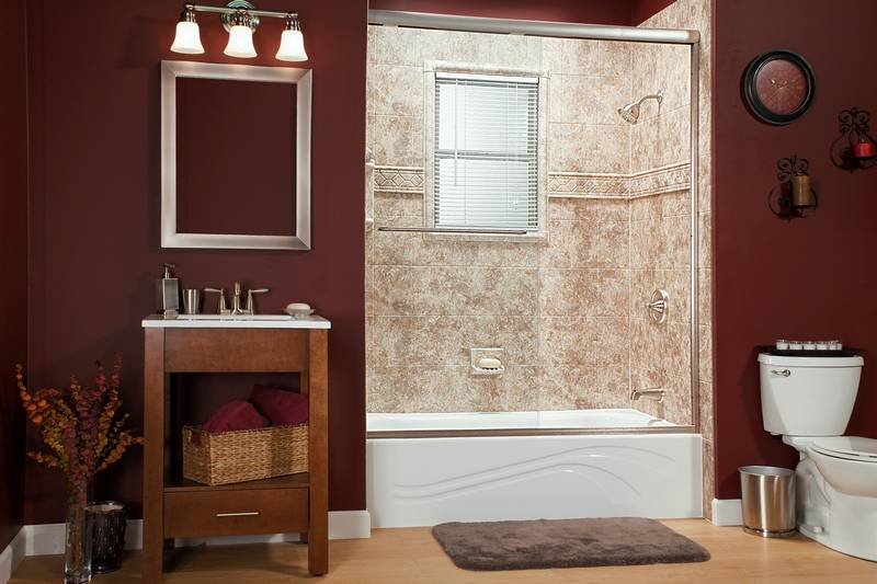 Wall liners that look like granite or marble  in tan earth tones  are a. Local company specializes in quick bathroom makeovers