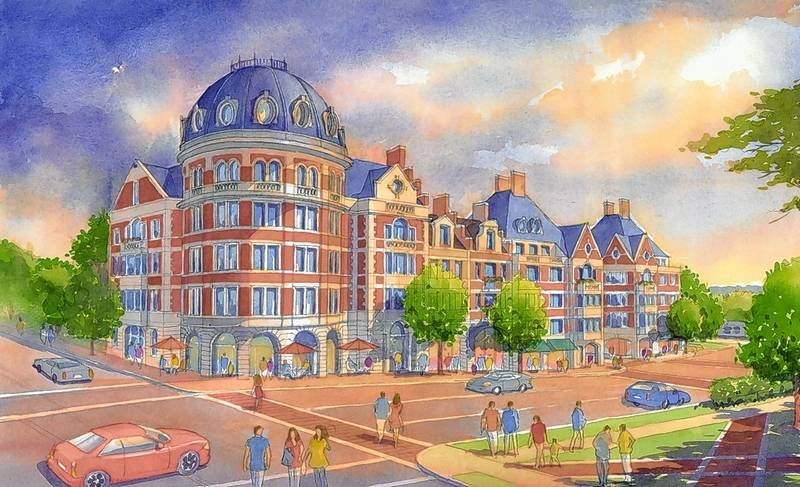 A Rendering Shows The View From Pennsylvania And Prospect Avenues Of Development That Would Include