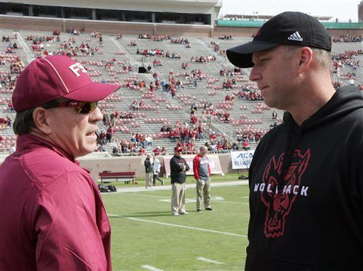 Florida State's head coach Jimbo Fisher, left, and North Carolina State's head coach Dave Doeren chat before the start of an NCAA college football game, Saturday, Nov. 14, 2015 in Tallahassee, Fla.