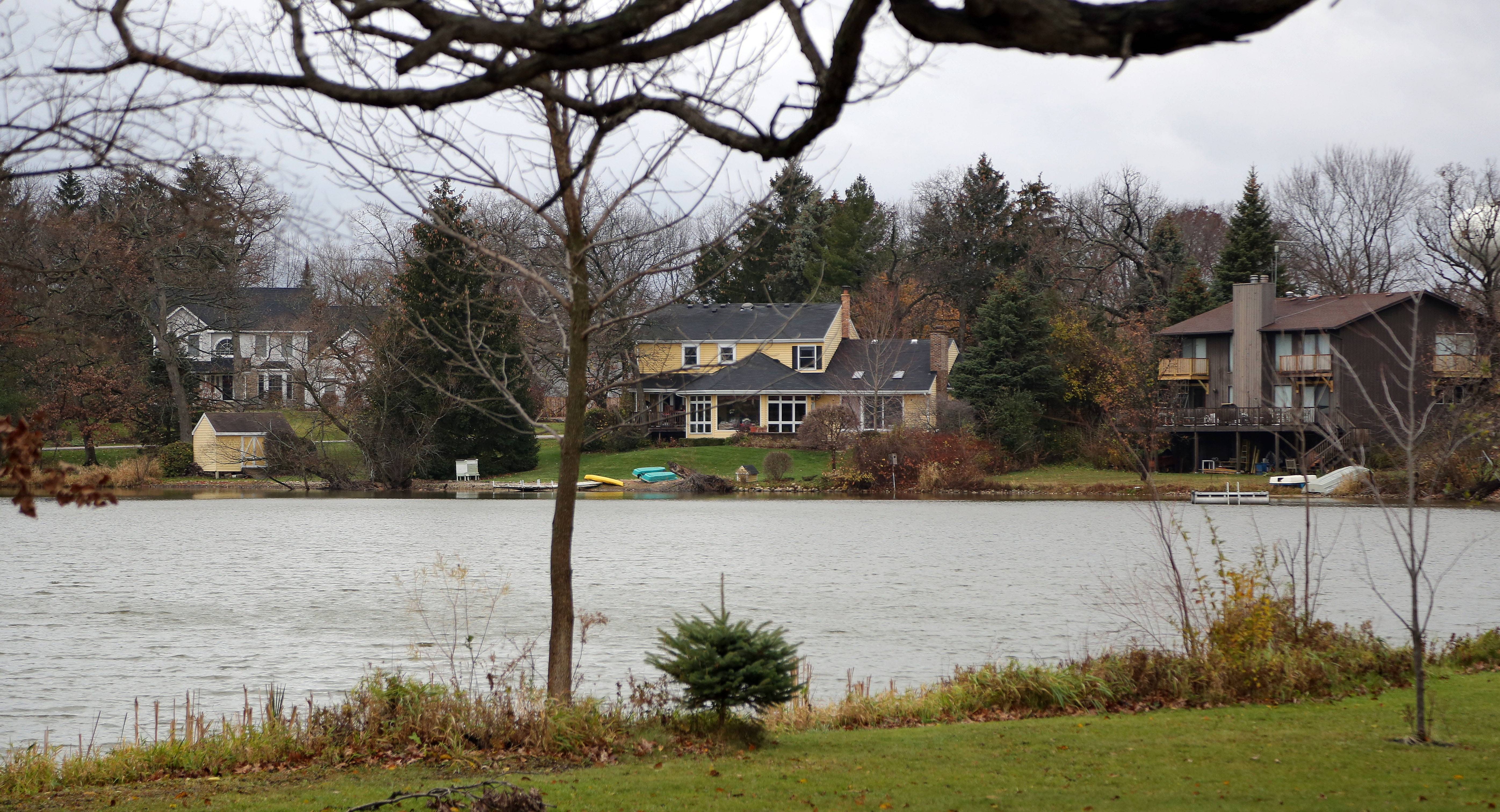 Many houses back up to a private lake in Lakeview Woodlands, a neighborhood in unincorporated Wauconda.