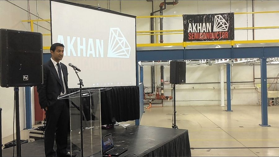 AKHAN Semiconductor founder and chief executive officer Adam Khan speaks at a celebration Friday marking the company's move into a Gurnee business park.