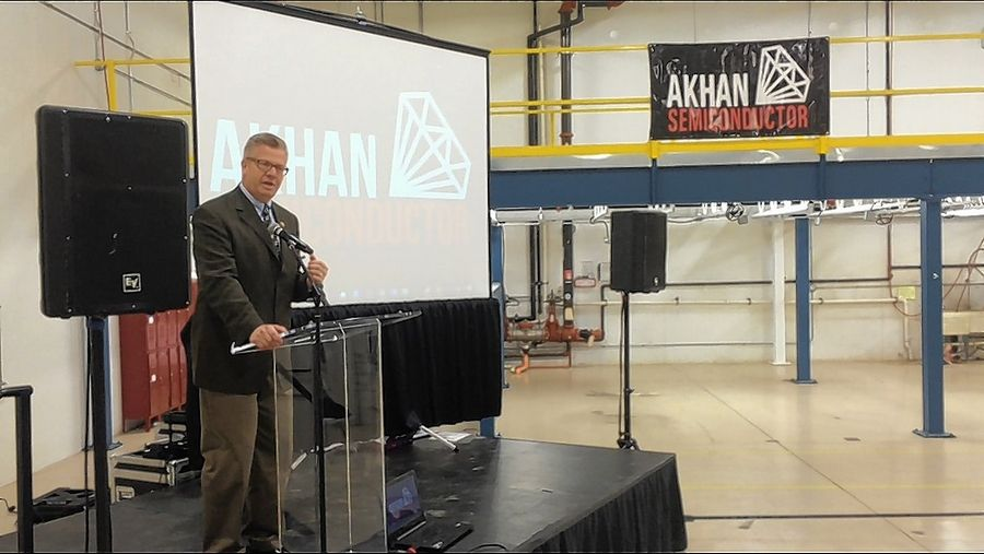 Republican U.S. Rep. Randy Hultgren of Plano speaks at Friday's ceremony for AKHAN Semiconductor moving into a Gurnee business park.