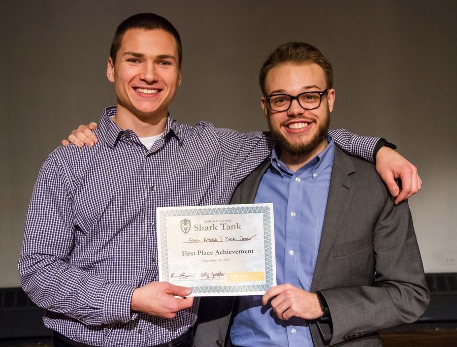 "Ethan Adams and Zachary Conover won the grand prize in Judson University's ""Shark Tank"" entrepreneurial competition Thursday in Elgin."