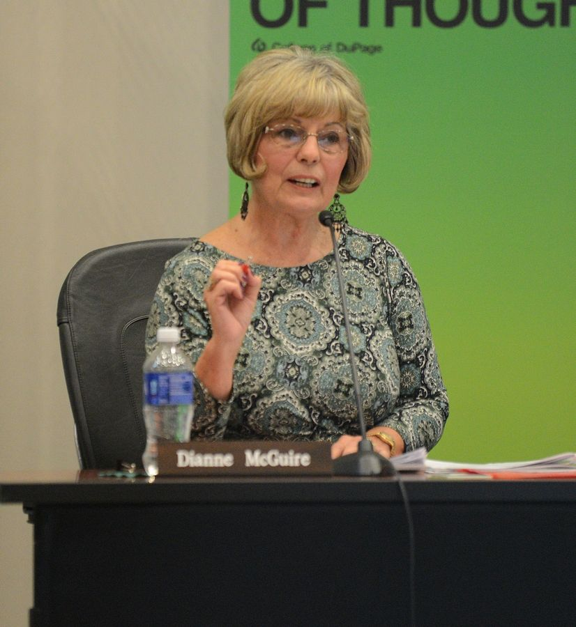 College of DuPage board Trustee Dianne McGuire voted against a plan to have a search firm find the college's next president and fill three other executive positions, saying the next president should hire the people he or she wants in those spots.