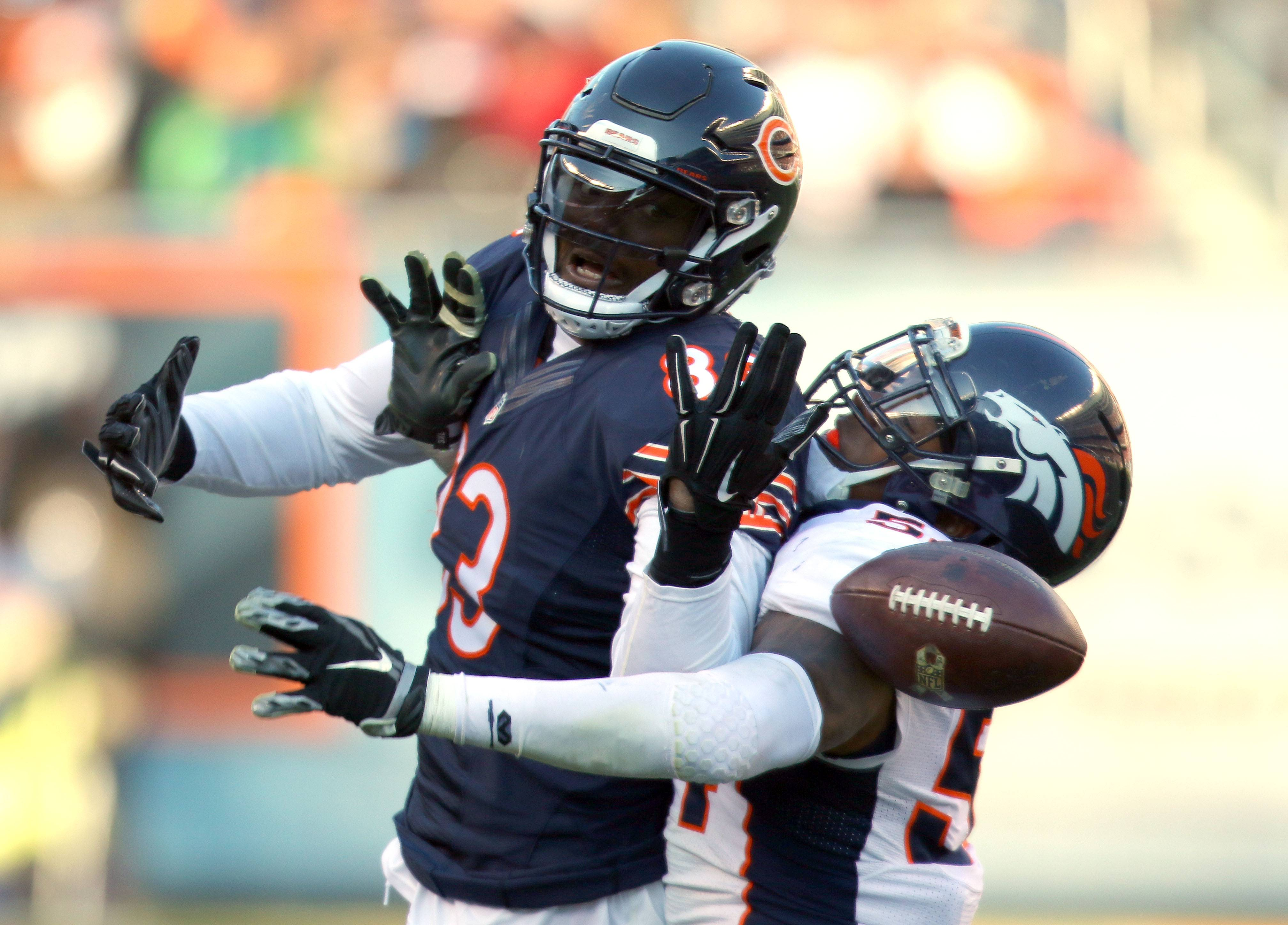 Chicago Bears tight end Martellus Bennett is interfered with by Denver Broncos inside linebacker Brandon Marshall during Chicago Bears vs. the Denver Broncos game Sunday, November 22, 2015 at Soldier Field in Chicago.