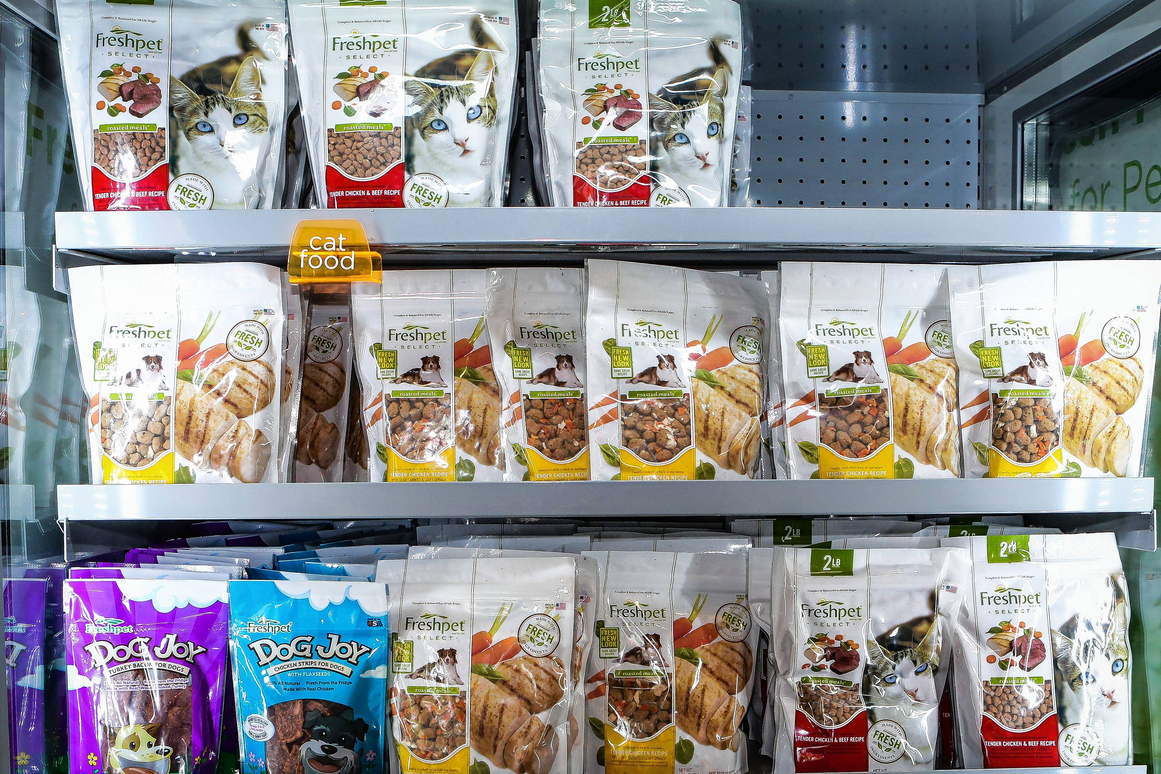 Freshpet is breaking into new territory with its refrigerated dog meals. Shown, food this month at the Freshpet production facility in Bethlehem, Pennsylvania.