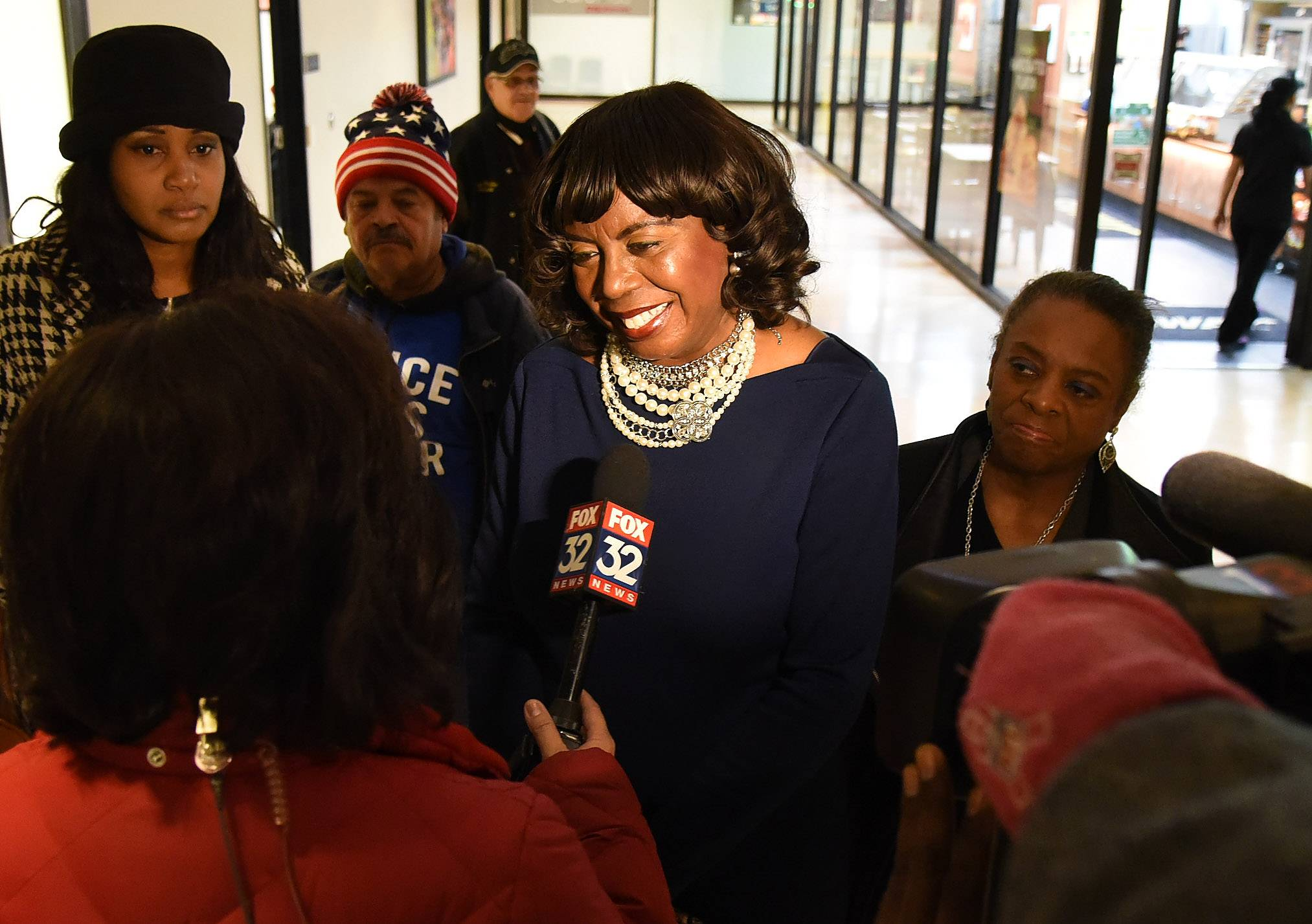 Cook County circuit court Clerk Dorothy Brown speaks to the media after filing nominating papers Monday morning at the Cook County Clerk's office in Chicago.