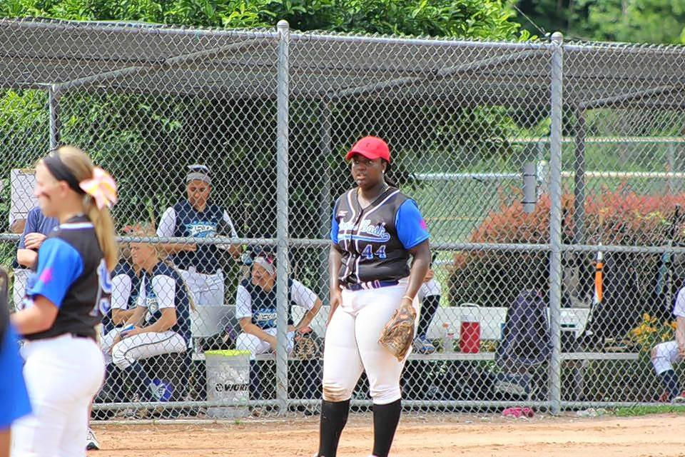 Conant High School senior Dream Aaron plays both third base and catcher for the Illinois Bash Softball Association.