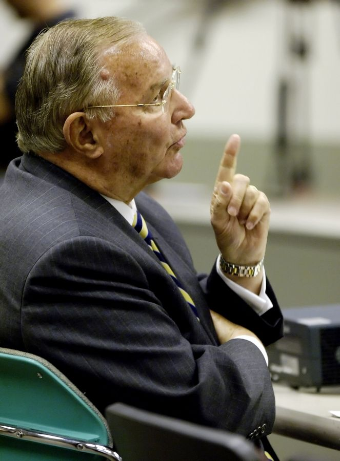 Arlington Park Chairman Richard Duchossois testifies during a meeting of the Illinois Racing Board