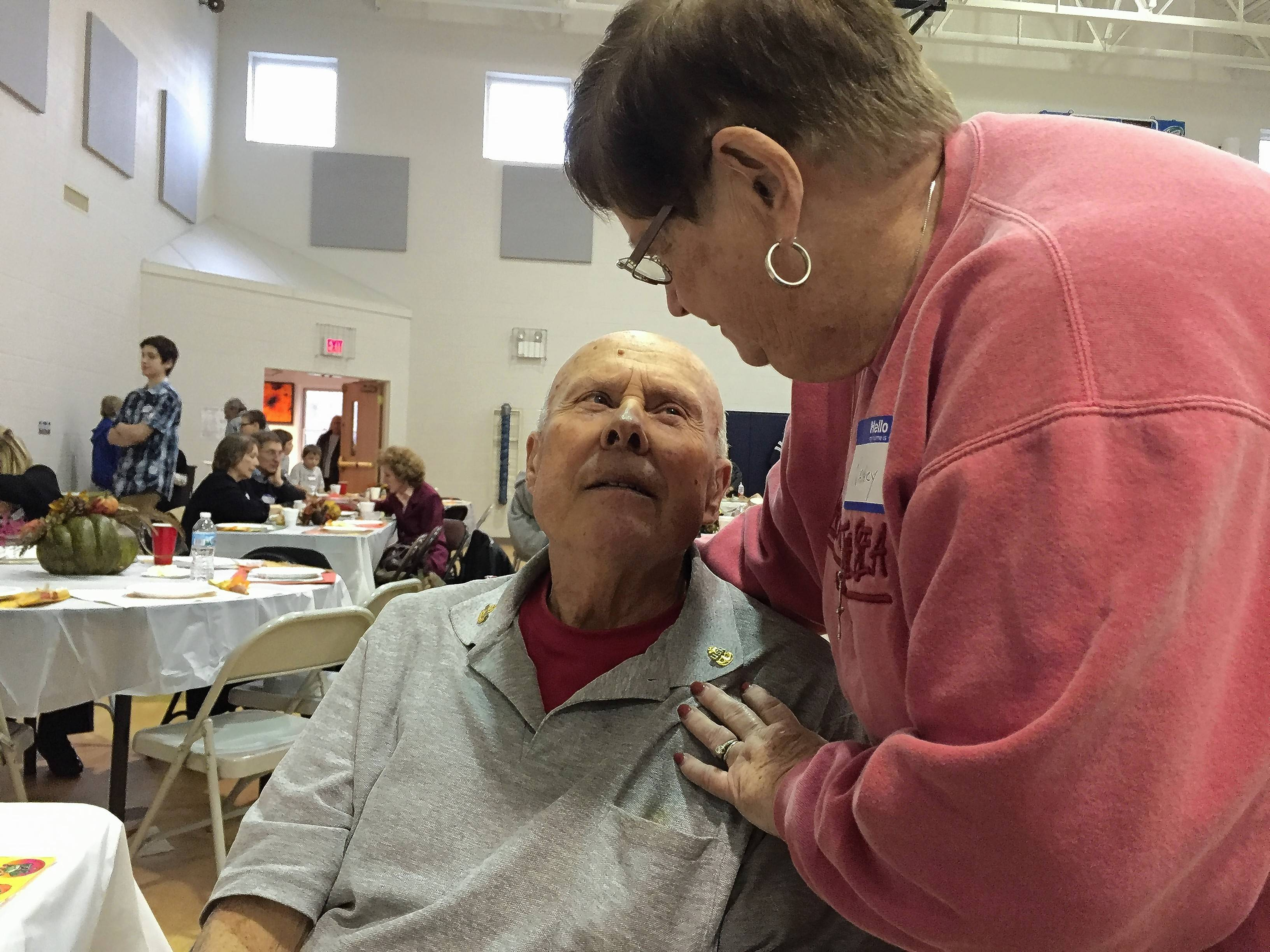 "Stanley ""Stosh"" Simenc, of Batavia, quickly befriended Nancy, a volunteer who brought him pumpkin pie at the Lazarus House Thanksgiving dinner in St. Charles."