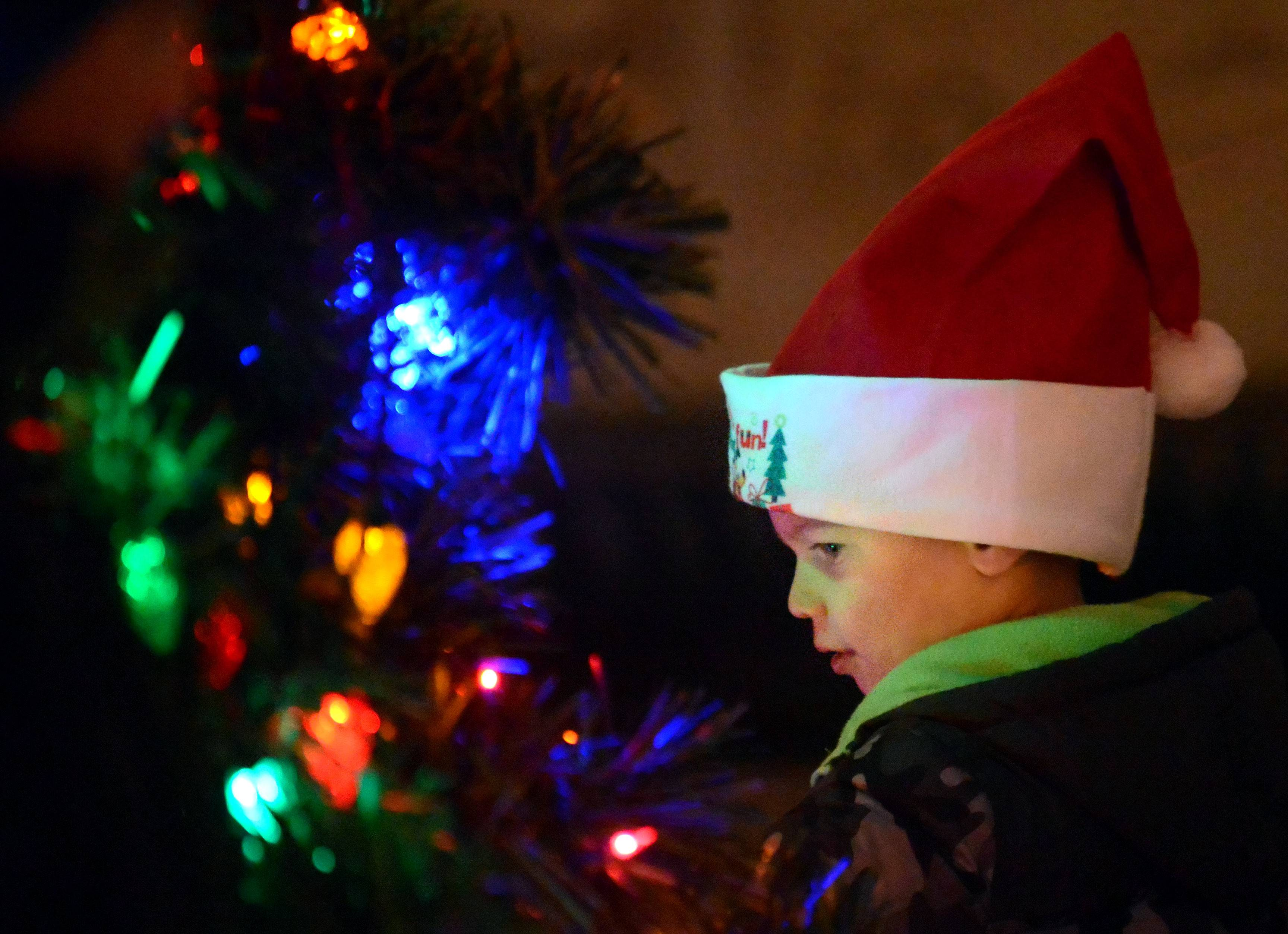 Colton Leonhardt, 2, of St. Charles checks out the Christmas tree near Santa's cottage Friday during the Holiday Homecoming in St. Charles. He came last year to see Santa and brought along little brother, Logan, 1, this year.
