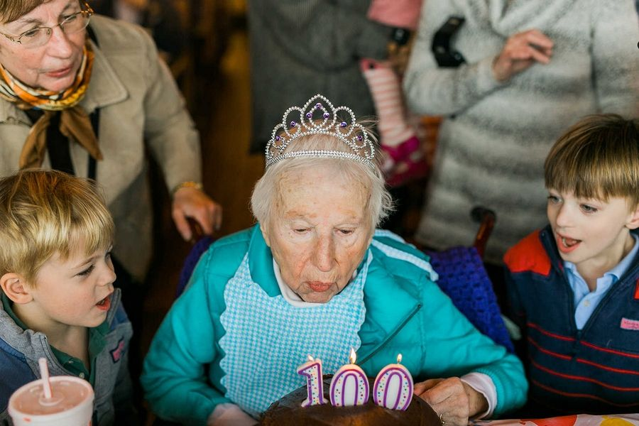 Longtime Elgin resident Helen Diekman died less than three weeks after turning 100. She's shown here celebrating her 99th birthday at Portillo's restaurant.