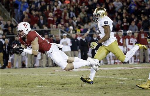 stanford notre dame score ncaa football tournament 2015