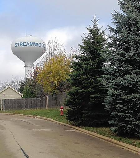 This water tower reads Streamwood on one side and Streamwood High School on the other side.