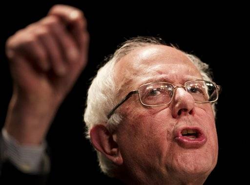 "In this Nov. 23, 2015 photo, Democratic presidential candidate Sen. Bernie Sanders, I-Vt., speaks at a campaign event at the Fox Theatre in Atlanta. The most ambitious ""repeal and replace"" health care plan from a presidential candidate comes from Sen. Bernie Sanders, not from a Republican. (AP Photo/David Goldman)"