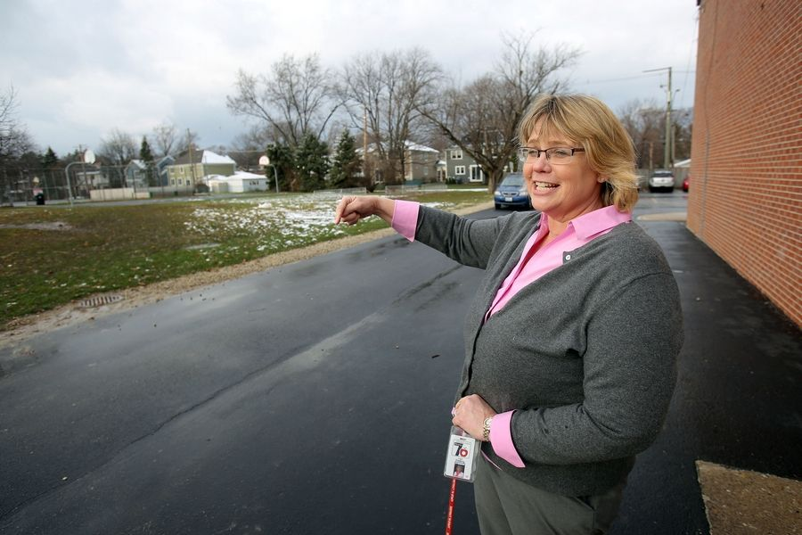AT DAILYHERALD.COM/MORE: Copeland Manor Principal Lori Poelking shows where a new gymnasium would be built as Libertyville Elementary District 70 considers an expansion at the school.