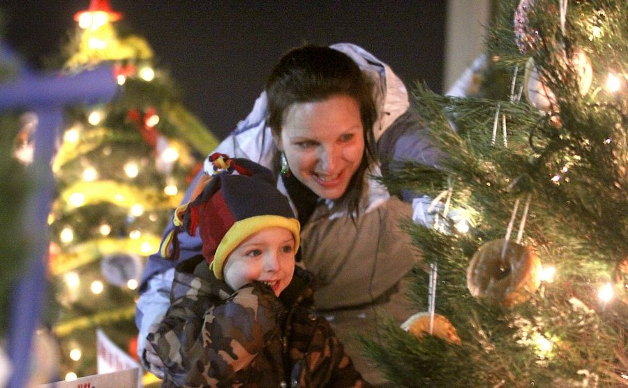 Toby Bastin, 4, and his mom Christine, of Lake in the Hills, admire a holiday tree decorated with doughnuts by the Lake in the Hills Police Department during the 2011 Festival of Trees and Santa Ride In at village hall. This year's festival kicks off Friday.
