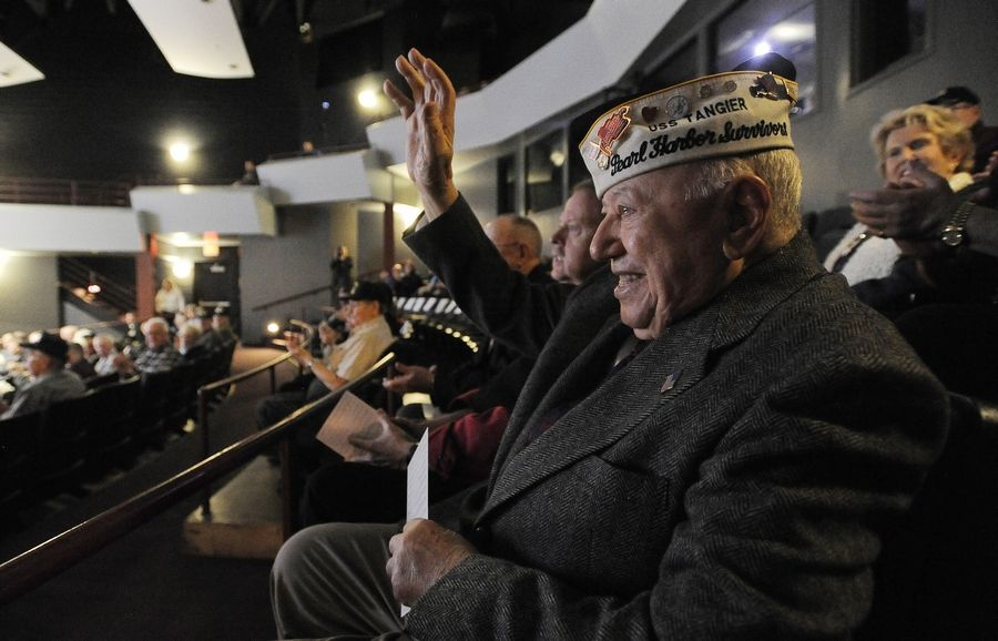 Pearl Harbor survivor Joe Triolo, 95, of Zion is recognized by a crowd of about 60 people who attended a remembrance ceremony Monday in Des Plaines.
