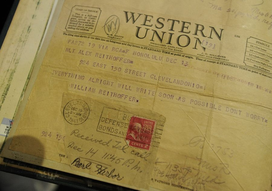 A Western Union telegram shows William Reithoffer's message to his parents back home in Cleveland -- that everything was all right -- after the attack on Pearl Harbor.