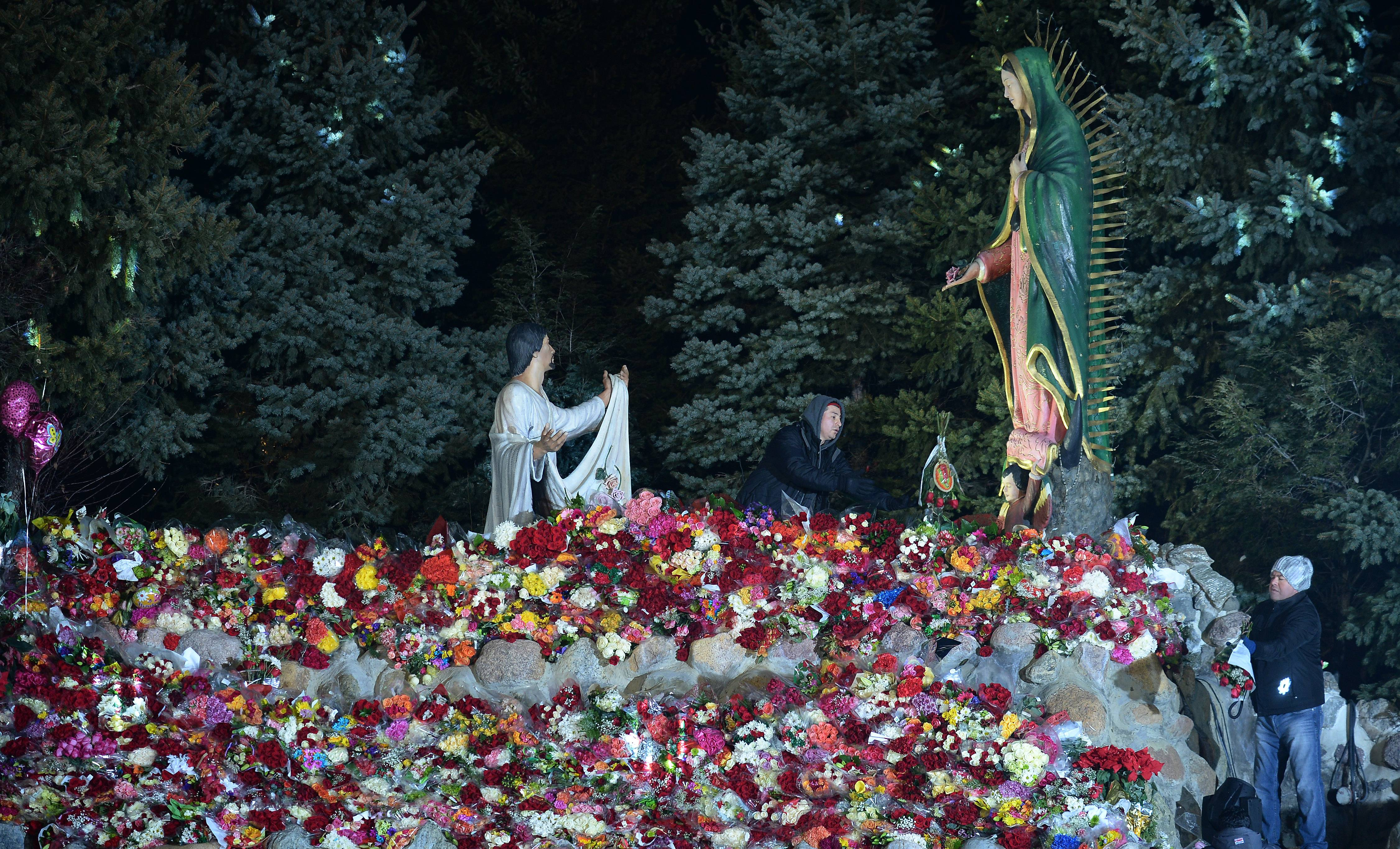 Many Worshippers Bring Flowers To The Shrine Of Our Lady Of Guadalupe In  Des Plaines,