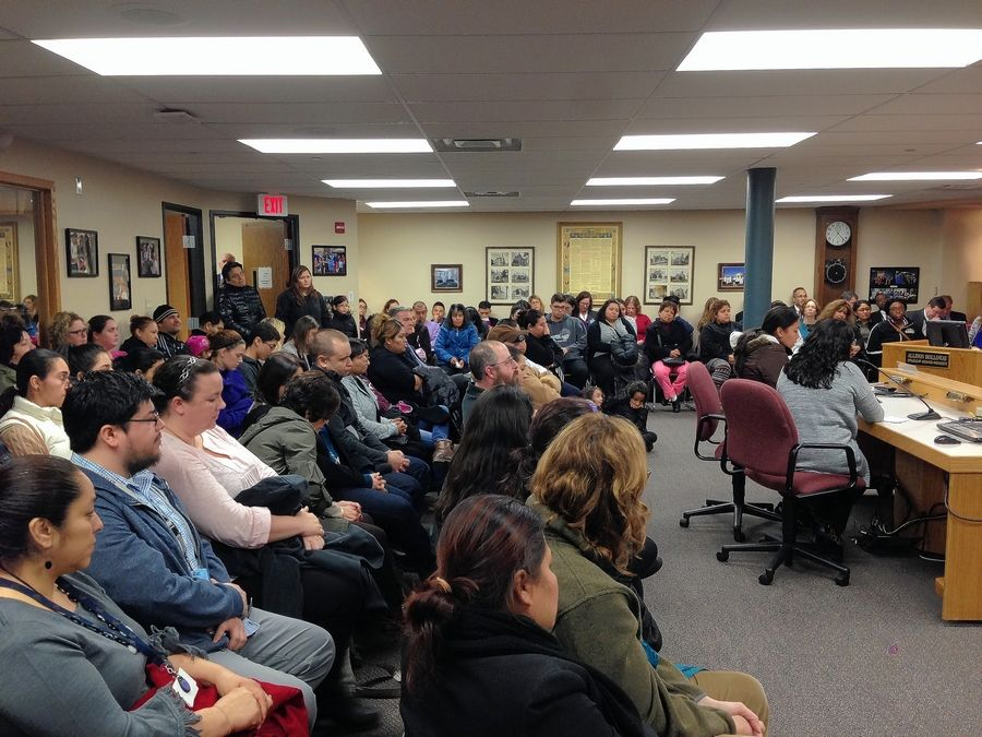 Several Lincoln Elementary School parents spoke at an Elgin Area Unit District 46 board meeting Monday against moving 226 students from the Hoffman Estates school to three Elgin schools.