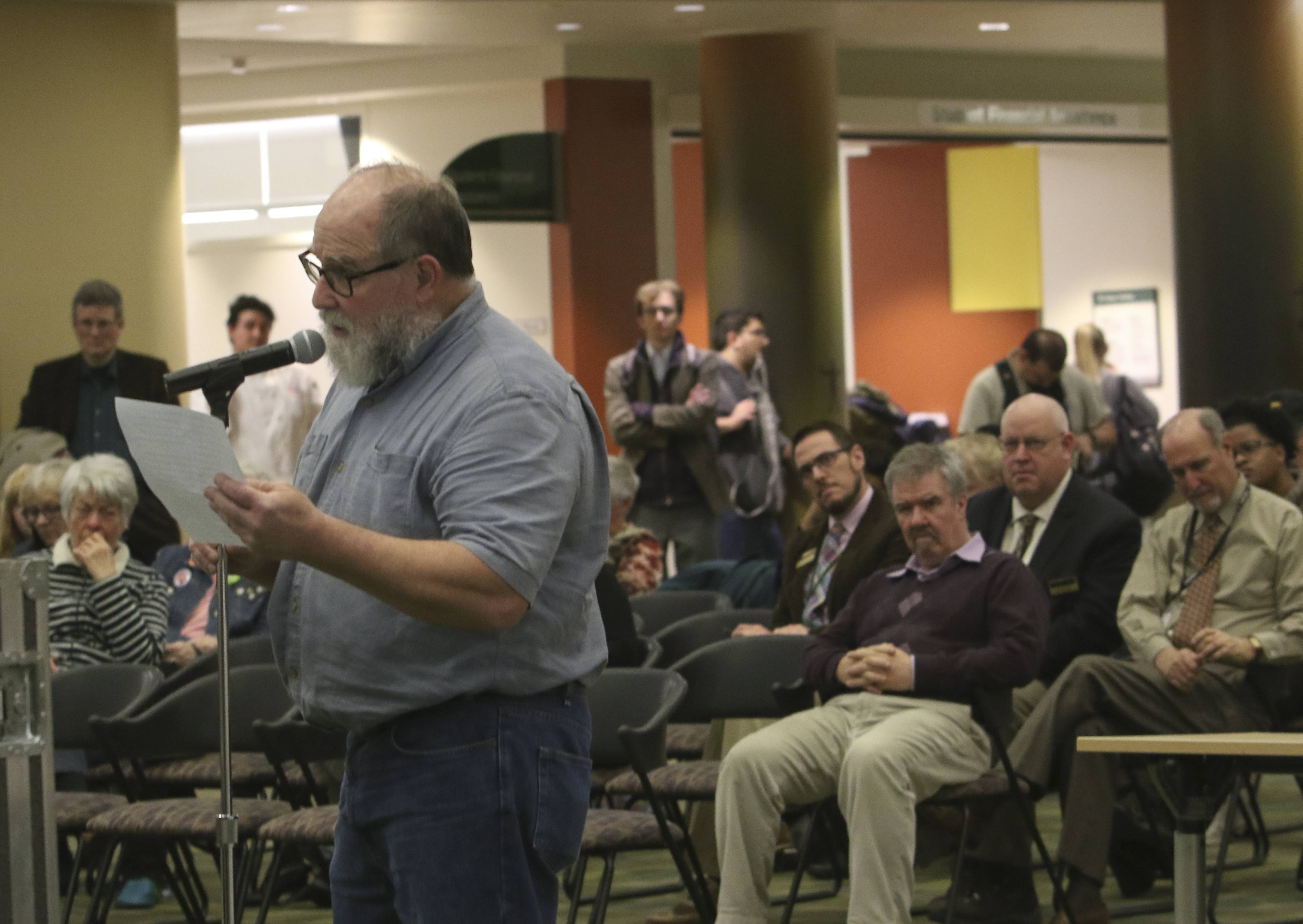 "Bob Hazard, an English professor at the College of DuPage, expressed disappointment at the school's announcement Monday that Robert Dickeson will act as a consultant in the presidential search. Dickeson has been portrayed as ""anti-faculty"" by a national association of university professors, Hazard said."