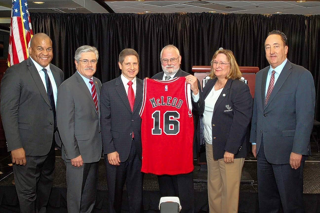 NBA D-League President Malcolm Turner, state Rep. Fred Crespo, Bulls Chief Operating Officer Michael Reinsdorf, Hoffman Estates Mayor William McLeod and his wife, Joane, and Bulls General Manager Gar Forman were on hand for this fall's announcement that the Bulls will support a D-League team to play at the Sears Centre Arena in Hoffman Estates.