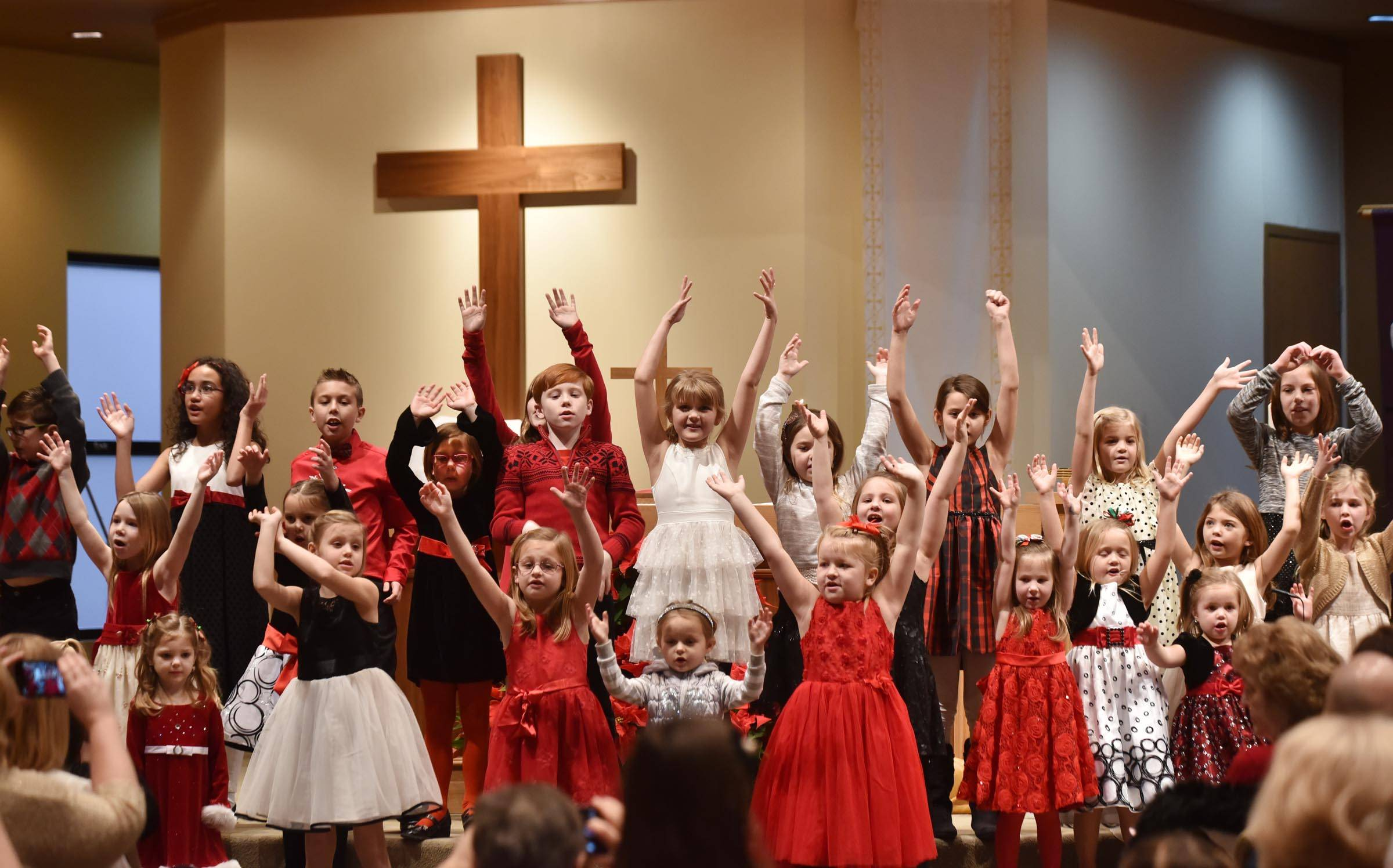 The children's choir performs Thursday at a Christmas service at Hosanna! Lutheran Church in St. Charles.
